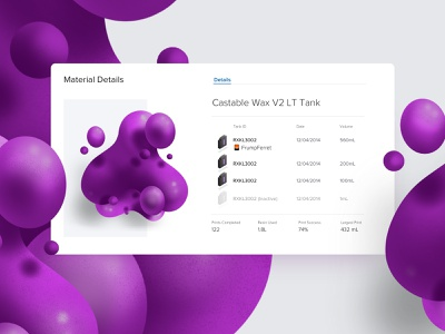 Castable Wax 3d printer iot interface vector icon blobs purple liquid floating 3d resin formlabs dashboard ux design layout card ui illustration