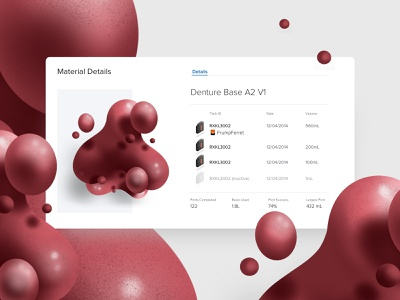 Denture base Material card website app web abstract red type layout vector icon illustration floating resin material 3d modal card ui