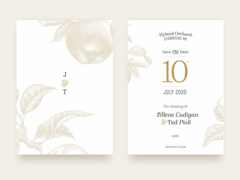 Save The Date invitation wedding stationary wedding invite save the dates etching line drawing abstract botanical plant illustration hyland beer brewery new england apple orchard save the date wedding card wedding invitation wedding