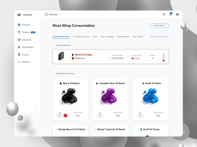 Dashboard Consumables 3d 3d printing layout app web design ux dashboard ui