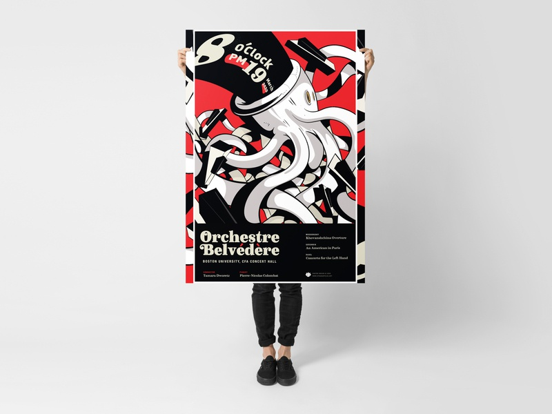 Orchestre Belvedere Poster design logo brand piano white glove show gig identity branding event music festival typography type layout illustration poster