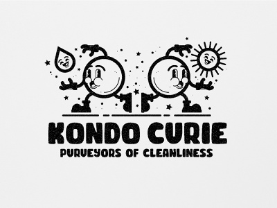 KC Light branding design cuphead fallout clean earth icon water sun cartoon vintage jolly character white black black and white illustration illustration