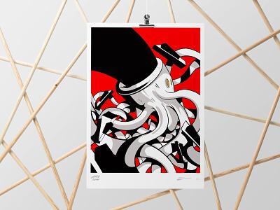 Ochestre Belvedere Silkscreen Poster poster design inking drawing illustration lines octopus hand glove red ink procreate graphic art print poster