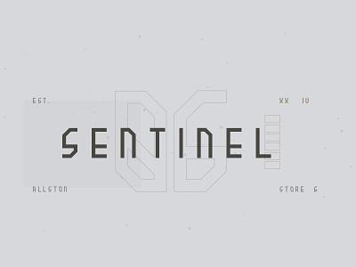 Sentinel sketch lockup typography