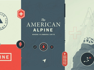 American Alpine Brand Refresh topography leaf trees search rescue practice makes arcteryx american alpine club design branding icons pins patch woods outdoors climbing america american brand logo