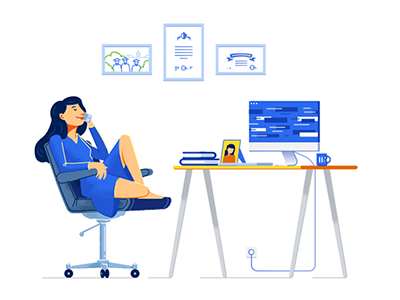 Job search happy phone work character illustration vector desk computer woman