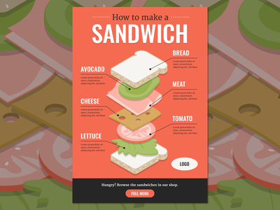 Isometric Sandwich infographic lunchmeat avocado tomato bread lettuce cheese template hero food infographic food industry sandwich infographic menu food restaurant 3d art isometric sandwiches sandwich illustration infographic