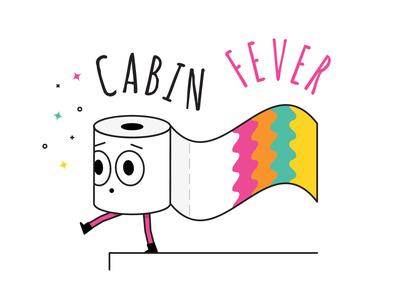 Cabin Fever Roll character rainbow stayhome quarantine cabinfever toiletpaper toilet paper toilet
