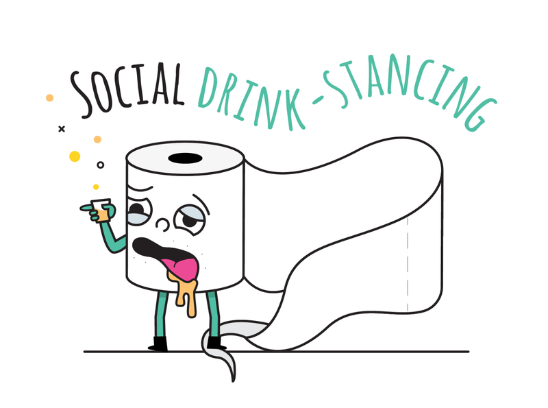 Drunkard stay at home toilet paper character social distancing socialdistancing corona virus rollover toilet paper toiletpaper quarantine stayhome alcoholic alcohol drunk