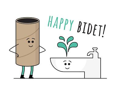 No toilet paper, better buy a bidet card splash birthday card birthday empty roll toilet toilet paper toiletpaper roll bidet