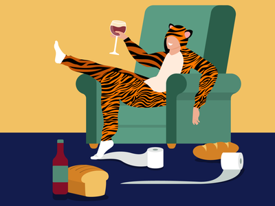 Stay home poster relax coronavirus covid 19 vector poster social distancing social distance freedom tiger onesie drink wine wine toilet paper bread baking breadmaking bread onesie tigerking tiger covid-19 quarantine stay home