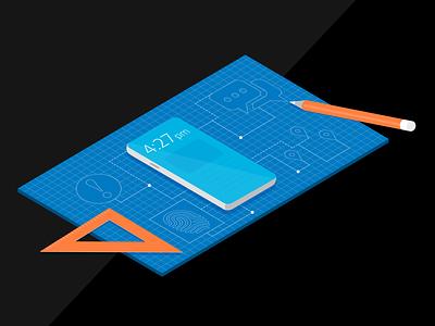 Samsung Podcast graphic cell phone illustration isomatric 3d blueprint samsung podcast