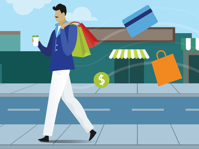 Spendy McSpenderson quiz people character shopping person illustration
