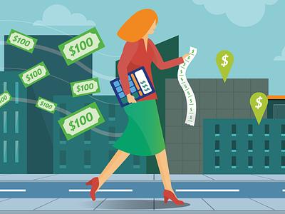 Alda Franklins infographic scene city money character creation quiz savings budget people illustration