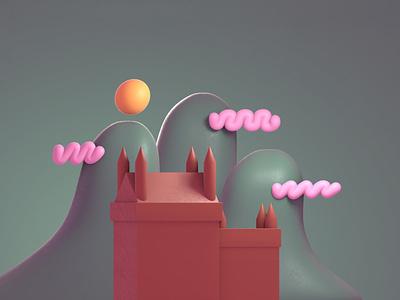 Castle mograph illustrate design style frame illustration motion graphics motion design animation blender 3d ilustration 3d artist 3d art 3d