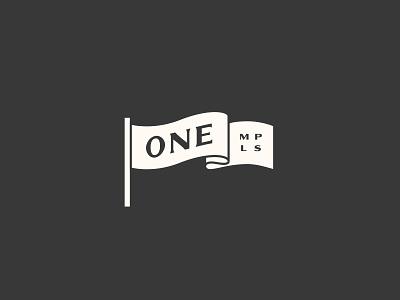 ONE MPLS Flag beer illustration brand logo flag mpls minneapolis one