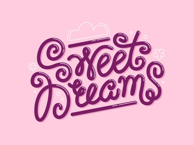 Sweet Dreams art line calligraphy illustration design candy cartoon logo adobe illustrator vector cute dreams sweet lettering