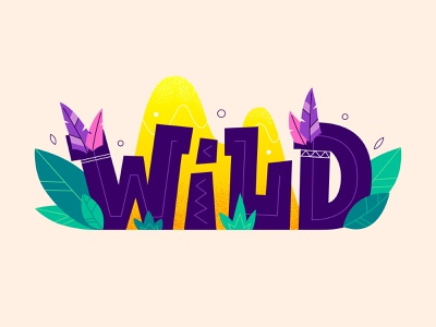 Wild ai icon texture indian kids typographic graphic leaf feather tribal design lettering cartoon logo flat vector illustration adobe illustrator wild