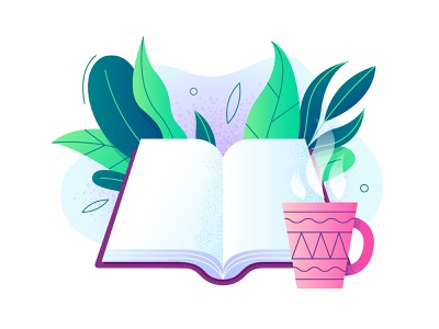 Book and coffee read creative minimal simple graphic clean leaf leaves cup coffee art cartoon adobe illustrator vector design illustration texture flat reading book