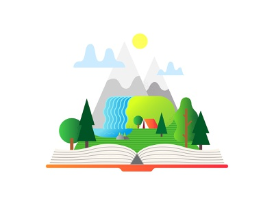 Мountain landscape in an open book waterfall forest camp camping adventure travel landscape reading read book graphic art cartoon logo icon flat adobe illustrator vector illustration design