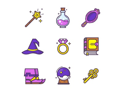 Magic icons wizard items set witch witchcraft drink book design vector graphic line icon art cartoon logo flat adobe illustrator illustration fairytale magic icon