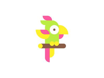 Parrot mosaic logotype identity branding simple character tropical pink design adobe illustrator graphic hawaii bird parrot logo icon flat cartoon vector illustration