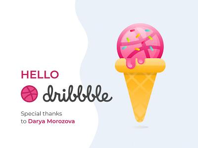 mmM, dribbble! debut hello first shot icon ice cream hello dribbble flat vector design illustration