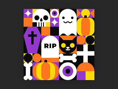 Happy Halloween pattern spooky bones trick or treat skull pattern happy halloween halloween ghost dark black cat logo cartoon art adobe illustrator design flat icon vector illustration