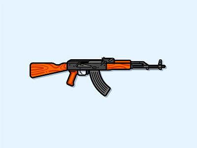 AK-47 assault military gun rifle weapon kalashnikov ak 47 ak-47 line icon logo cartoon adobe illustrator vector illustration icon flat design