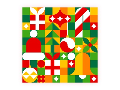 Christmas pattern hat santa happy merry ball tree bell gift new year adobe illustrator vector abstract logo xmas pattern christmas illustration icon flat design