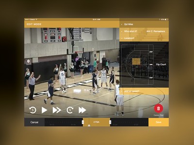 Edit Mode stats playback controls timeline mode edit basketball shot chart ipad ios tablet hudl