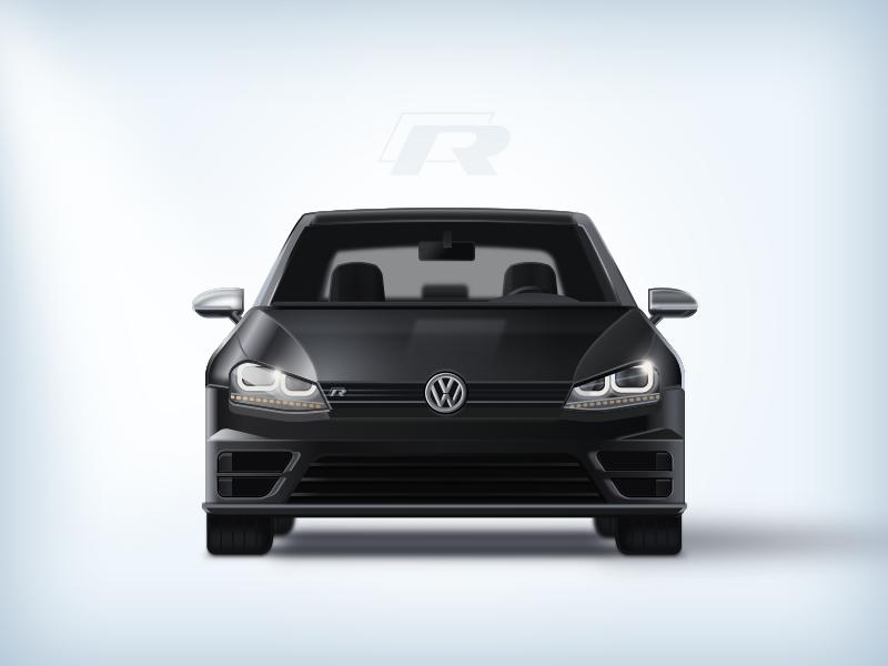 Golf R realistic sketch allblack black golf vw reflections car icon