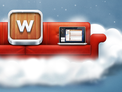 Couch couch red leather icon mac book clouds wunderkit