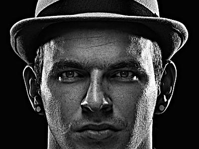 Rosi hat guy black white photography studio shooting high resolution
