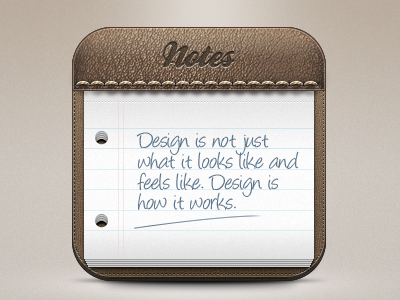 Notes leather paper notes icon wunderkit seam