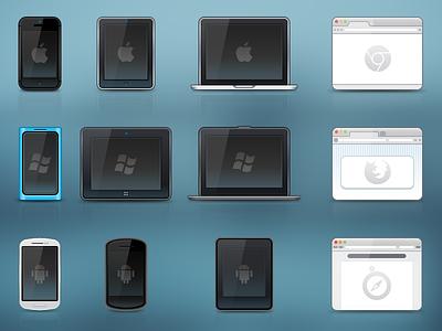 Mini Icons icon set safari firefox macbook iphone lumia nexus tablet ipad browser galaxy