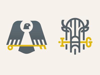Branding gate lock horns key animal bird eagle buffalo