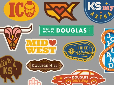Heartlandia midwest buffalo bull horn kansas wichita car stickers