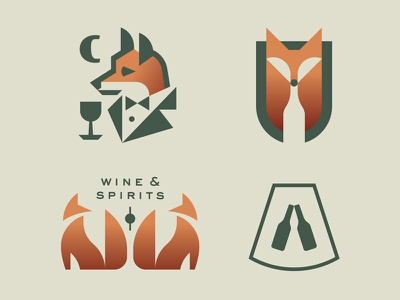 Fox, Wine and Spirits copper red animal spirits bottle wine fox