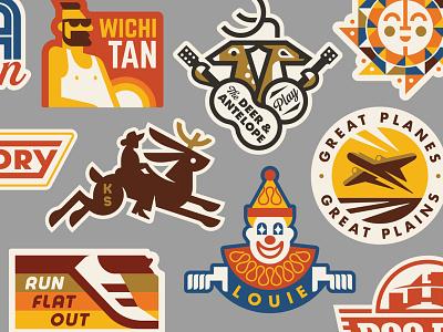 Heartlandia Stickers crest run tan plane kansas sun jackrabbit deer sticker