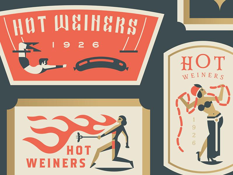 Coney Island Hot Weiners crest hotdog hot fire women man sideshow