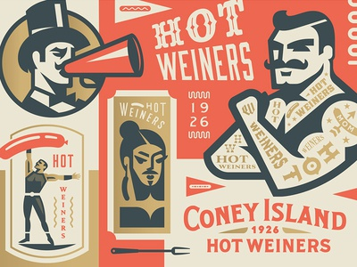 Coney Island Hot Weiners hotdog crest strong lady beard man tattoo