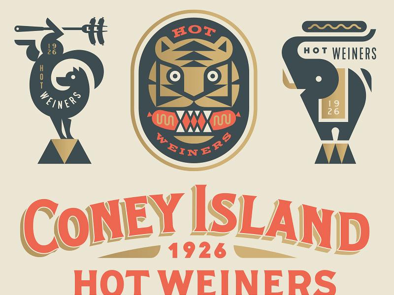 Coney Island Hot Weiners mustard food hotdog dog tiger elephant