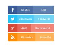 Flat social media widget