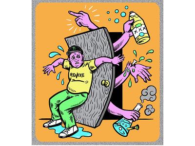 Soft Sk8 design digital skater jenkem skateboarding digital art quirky colorful surreal cartoon drawing illustration