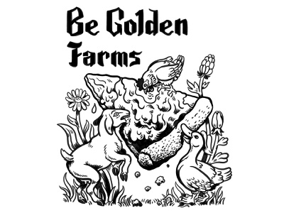 Be Golden Farms t-shirt design branding pizza nature hand lettering quirky surreal cartoon drawing illustration