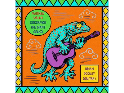 Gorgamor The Giant Gecko branding design music album cover album art hand lettering digital art quirky colorful surreal cartoon drawing illustration