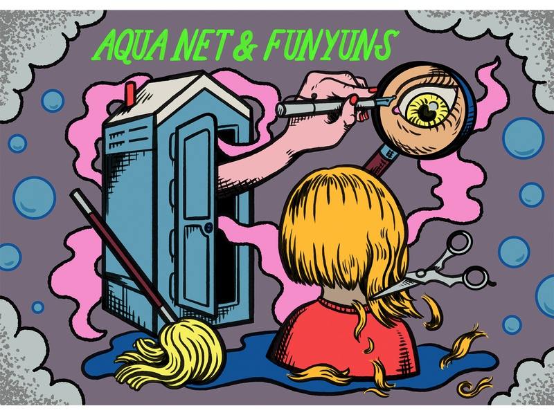 Aqua Net and Funyuns branding podcast art podcast hand lettering digital art quirky colorful surreal cartoon drawing illustration