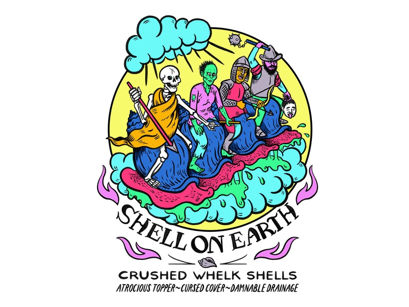 Shell on Earth packaging design branding design packaging branding hand lettering digital art quirky colorful surreal cartoon drawing illustration