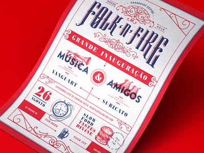 Folk 'n' Fire Flyer Vintage Design invitation party type design poster identity logotype branding logo
